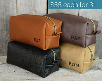 Groomsmen Gifts - Leather Toiletry Bag with Monogram - 15% discount for orders of 3+ - wedding gift groomsmen groomsman groom