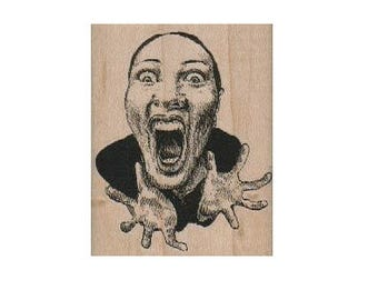 Rubber stamp Lady Screaming Head face humor    wood mounted unmounted, cling  rubber stamp scrapbooking supplies  no18765