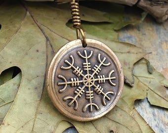 Helm of Awe Pendant Bronze, Viking Rune Jewelry, Icelandic Jewelry, Norse Nordic Necklace, Men's Jewelry, Aegishjalmur, Bronze Helm of Awe