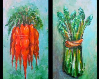 Kitchen paintings, Asparagus painting, Carrot paintings, kitchen wall art, dining room wall art, vegetable art, colorful kitchen paintings