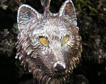 Sterling Silver Timber Wolf Pendant With Yellow Eyes
