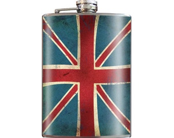 Union Jack - British Flag England Punk Rock - 8oz Stainless Steel Flask - comes in a GIFT BOX -  by Trixie & Milo