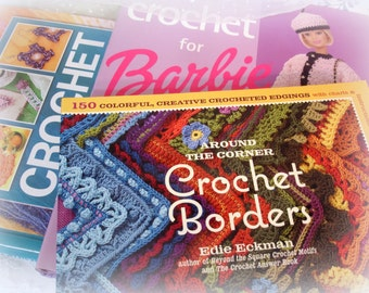 instant library 3 crochet books 2 hardcover 1 soft crochet for barbie colorful creatives edges and crochet with bits and pieces