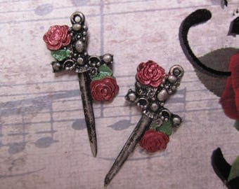 Dagger Charm, Red Roses, Green Leaves Antique Pewter Sword /Halloween/Gothic/Pirate/Industrial, Quantity Choice