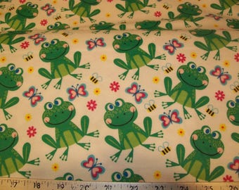 Frogs Bees and Butterflies - Snuggle Cotton Flannel Fabric - BTY