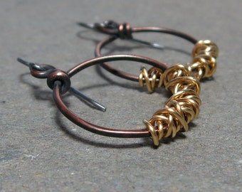 Mixed Metal Earrings Sterling Silver, Copper Hoops Brass Wire Wrap Oxidized Earrings Gift for Her