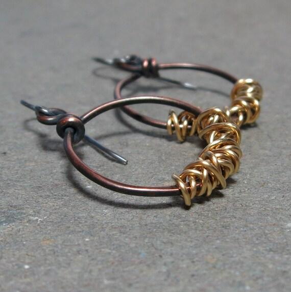 Mixed Metal Earrings Sterling Silver, Copper Hoop Earrings Brass Wire Wrap Oxidized Earrings Gift for Her