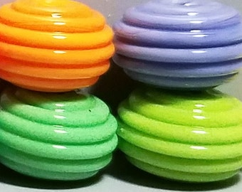 Ribbed Rainbow Donuts --Handmade Lampwork Beads