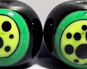 Groovy Green Bon Bon Duo--Handmade Lampwork Beads