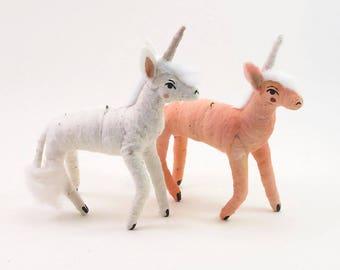 READY TO SHIP Vintage Inspired Spun Cotton Unicorn Ornament/Figure