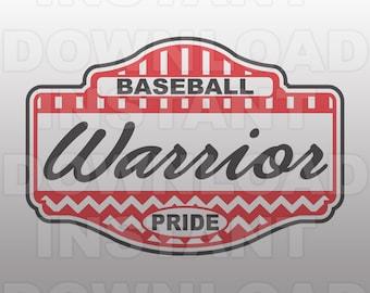 Warrior Pride School Spirit Baseball SVG File -Commercial & Personal Use- Vector Art SVG For ...
