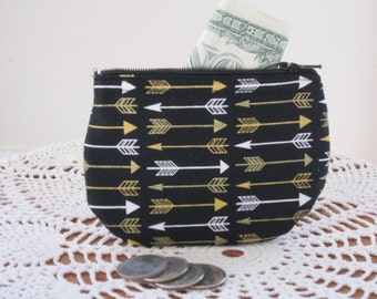 Coin Business Card Clutch Zipper Small Essential Oils Case Gift Card Holder Arrows in  Made in the USA