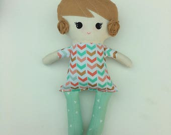 Funky Fabric Doll, brown hair