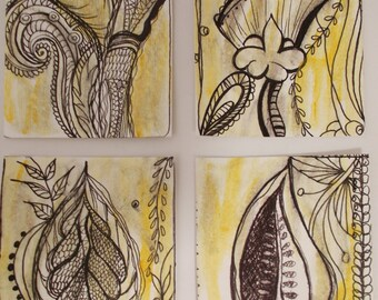No. 100, ACEO Art Cards Editions & Originals Set 4 by NoRaHzArT