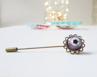 Fused Glass Stick Pin, Flower Brooch, Lapel Pin, Bohemian Jewellery,