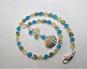 Seashell Anklet Gemstone Ankle Bracelet Swarovski Crystal Agate Anklet Ocean Colors Adjustable Silver Gemstone