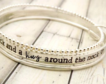 personalized bangle-bangle bracelet- stacked bangles- personalized stacking bangles- i love you a bushel and a peck-gift for mom