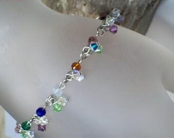 Colorful Mixed Swarovski Crystal Chain Bracelet, Swarovski Crystal Charm Bracelet, Swarovski Crystal Bracelet, Colorful Swarovski Bracelet