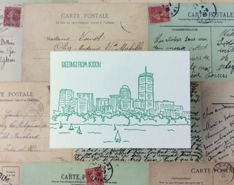 Boston - five letterpress postcards