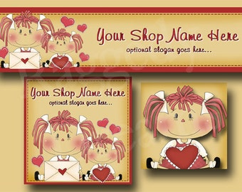 Premade Etsy Cover Photo  - Large Etsy Banner - Etsy Shop Banner - Shop Icon - Valentine Clip Art  - Raggedy Annie - Hearts Crafts