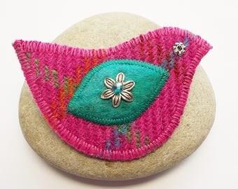 Pink Plaid Harris Tweed Bird Brooch Pin