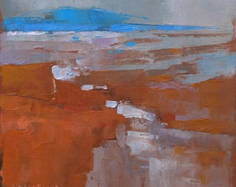 Exe River Estuary at Low Tide, abstract landscape oil painting, direct from artist