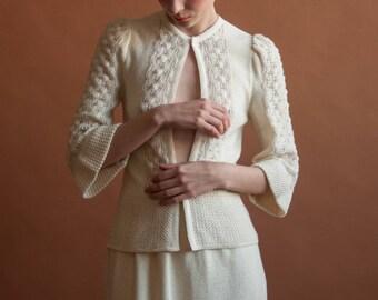 ivory crochet knit OSCAR de la RENTA cardigan sweater skirt set / xs / 374d