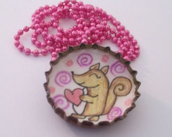 kids Bottle cap Necklace - Cute squirrel with heart - Little Girls Jewelry, kawaii, Recycled, Original Drawing illustration