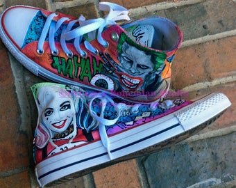 Handpainted Converse, Customized Converse, Comic Con, Hi Top Sneakers, Sneakers Shoe Art, Movie Characters, Custom Converse, painted shoes