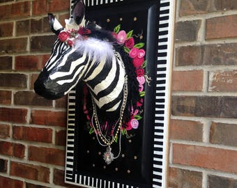 Zebra Fauxidermy, Whimsical Fake Animal Trophy Wall Mount, Safari Sculpture Decor, Office Wall Hanging, Gift for Boss, Woman, Sister, Neice