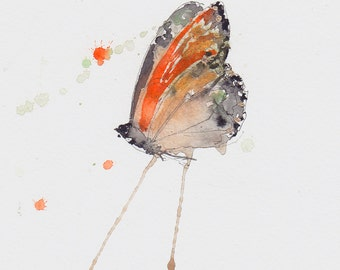 orange and gold butterfly print