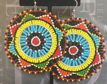 Seed Bead Tribal Inspired Extra Large Big Bold Colorful Disc Earrings Bright South African Rainbow Colors