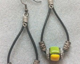 SALE! Tile Bead Leather Cord Loop Dangle Earrings