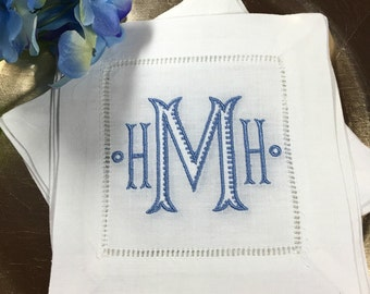 Chinoiserie MONOGRAM Cocktail Napkins. Wedding Gift. White Linen Hemstitch. BAROQUE Ribbed Font. Housewarming Hostess Gift. Bar Cart Decor.