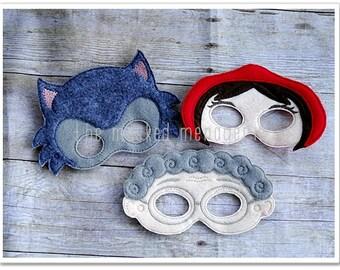 Little Red Riding Hood Felt Pretend Play Masks, Creative Play, Halloween Mask Pretend Play Felt Mask Set of all 3