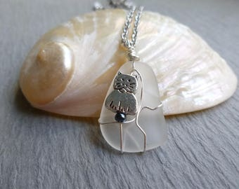 Handmade seaglass white pendant with cat wire wrapped stainless chain