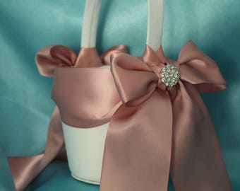 Ivory Satin Flower Girl Basket with Satin Ribbon in the Color of Sweet Nectar