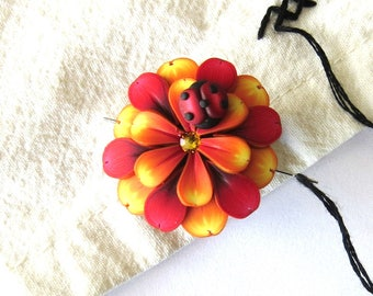 Orange and Red Flower Needle Minder with a Ladybug, Magnetic Needle Nanny Handcrafted from Claybykim