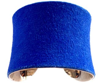 Cobalt Blue Suede Leather Gold Lined Cuff Bracelet  - by UNEARTHED