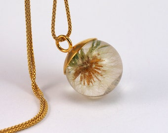 Delicate Dandelion Necklace, Dandelion Pendant, Sterling Silver Dendalion Necklace with Gold Plated Silver Cap, Resin Jewelry,