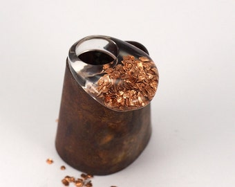 Copper  Resin Ring, Unique Clear Resin Ring with Natural Mineral, Resin Jewellry, Copper Ring