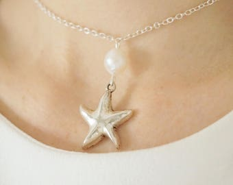 Bridal Jewelry Bridesmaid Gift Pearl Jewelry Wedding Jewelry Pearl Necklace Starfish Necklace Starfish Jewelry Freshwater Pearl Necklace Set