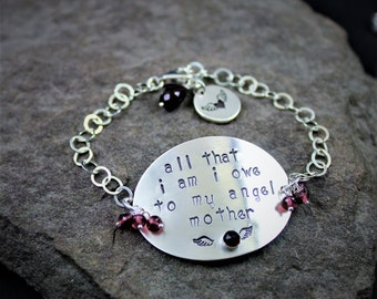 All That I Am -Sterling Silver And Garnet Hand Stamped Bracelet