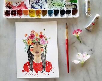 Original Flower Crown Girl Portrait Floral Watercolor Illustration