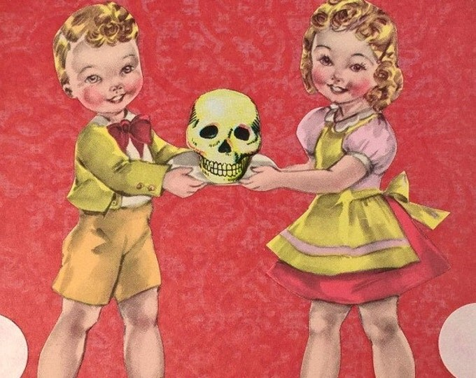 Kawaii Goth Skull Art, Cute Creepy Kids, Kitschy Macabre Artwork