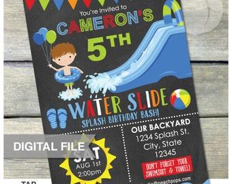 "Water Slide Birthday Party Bash Invitation Chalkboard Boy Waterslide - Digital Invite - 5"" x 7"" - Digital Printable"