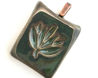 Pendant Stoneware Ceramic Lotus Blossom Great Stocking Stuffer Ready to Ship PNT0011