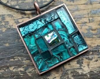 Teal Log Cabin Quilt Block Mosaic Pendant with Copper Bezel