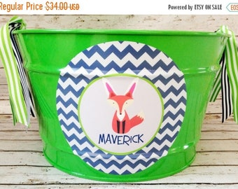 ON SALE custom personalized 16 QUART name Easter bucket featuring a fox as a bunny