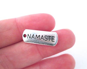 "10 Silver Plated ""Namaste"" Charms, Yoga Charms G81"